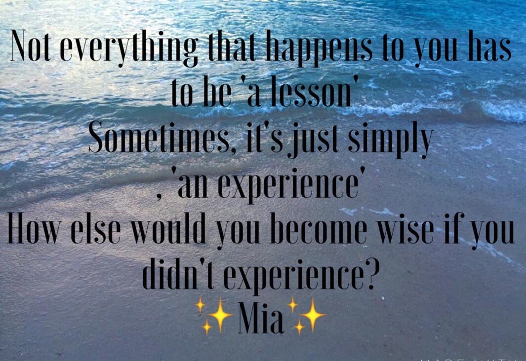 Is everything bad that happens to us 'a lesson'?